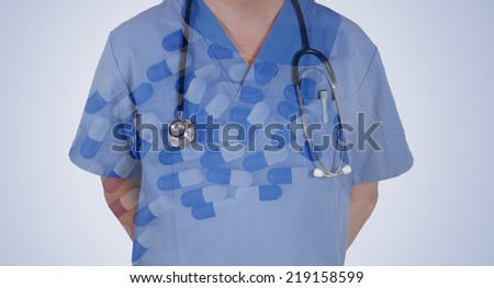 Double exposure of smart doctor with Pills, tablets and drugs pouring from bottle - stock photo
