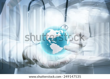 Double exposure of smart medical doctor holding the world with network diagram as concept  - stock photo