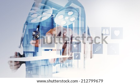 Double exposure of smart medical doctor working with operating room as concept - stock photo