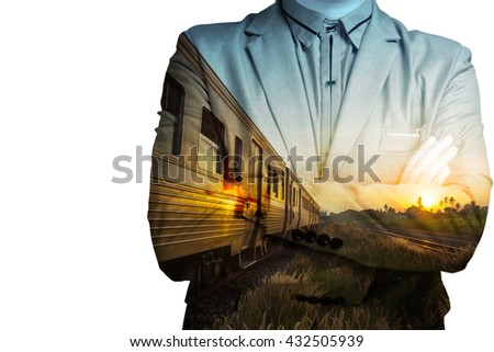 Double exposure of Train Station with Railway and businessman as Business development concept. - stock photo