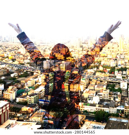 Double exposure of woman with her hands up. - stock photo