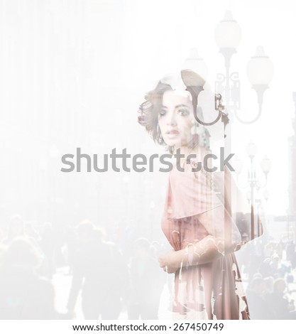 Double exposure of young woman and metropolis. Creative portrait. - stock photo