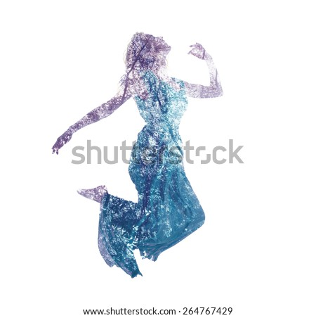Double exposure of young woman jumping with abstract leaves - stock photo