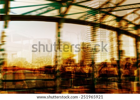 Double exposure,people at rush hour walking on the street in city, style of motion blur background. - stock photo