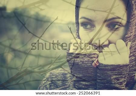 Double exposure photo of depressed woman - stock photo