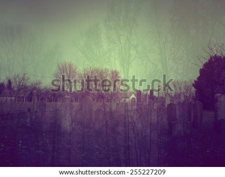Double exposure photo of spooky cemetery - stock photo