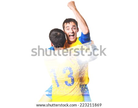 double exposure photo of stadium and soccer or football players celebrating goal with his jersey on head