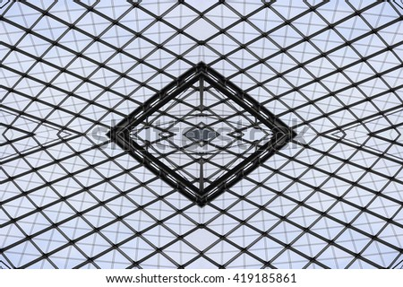 Double exposure photo of structural glass roof / ceiling / dome provided this fictional hi-tech architecture fragment with grid structure / pattern. - stock photo