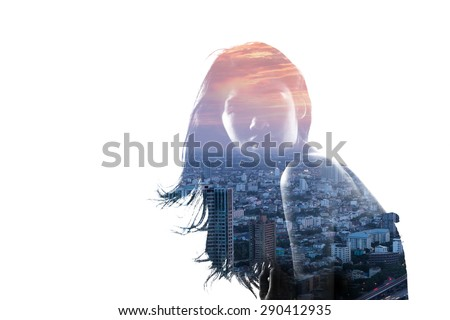 Double exposure portrait of an Asian woman and metropolitan city at dusk - stock photo