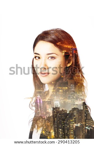 Double exposure portrait of an Asian woman and metropolitan city at night. - stock photo