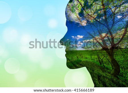 Double exposure portrait of attractive lady combined with photograph of tree. Be creative! - stock photo