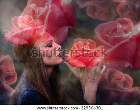 Double exposure portrait of beautiful lady and red roses - stock photo