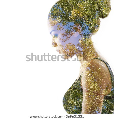 Double exposure portrait of beautiful woman. Beauty portrait of young mulatto woman in profile with summer tree over white. - stock photo