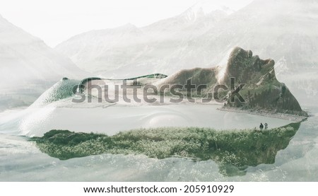 Double exposure portrait of seductive woman combined with photograph of lake surrounded with mountains. Add some creativity to your project! - stock photo