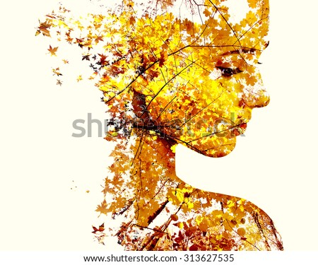 Double exposure portrait of young woman and autumn falling leaves. - stock photo