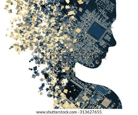 Double exposure portrait of young woman and computer board.