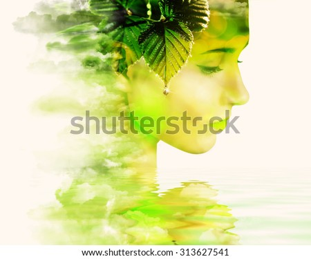 Double exposure portrait of young woman and springtime. - stock photo