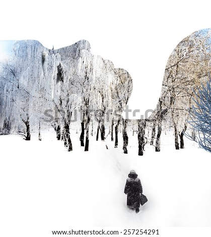 Double exposure portrait of young woman, elderly woman and winter forest. - stock photo