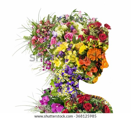 Double exposure portrait of young woman with bouquet of flowers. - stock photo