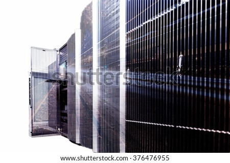 double exposure rackserver hardware in the data center - stock photo