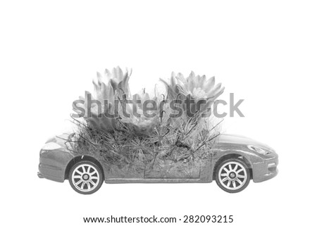 Double-Exposure ,Save The world concept of car and plant - stock photo