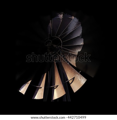 double exposure silhouette of person and 3D rendered windmill