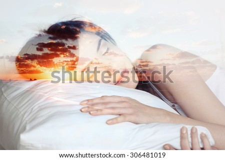 double exposure  sleeping girl and sunset, dreams  - stock photo