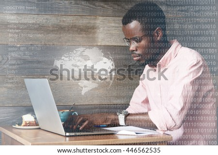 Double exposure. Social networking concept. Futuristic technology. Worldwide or global connection. Black man surfing the Internet, chatting via social networks, sharing posts and photos using laptop - stock photo