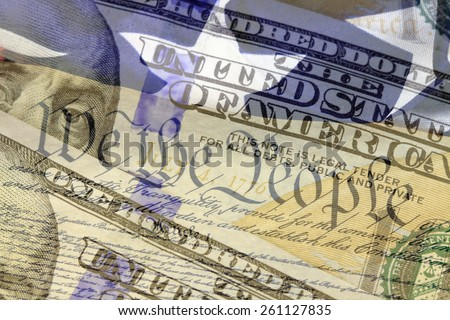 Double exposure US constitution We the People, American flag and one hundred dollar bill - Finance and government concept - stock photo