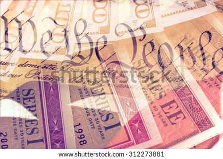 Double exposure US constitution We the People, American flag and treasury savings bond - Finance and government concept - stock photo