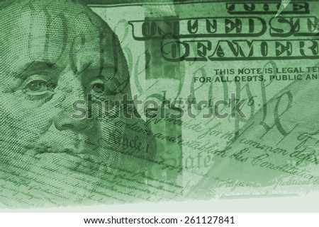 Double exposure US constitution We the People and one hundred dollar bill - Finance and government concept - stock photo