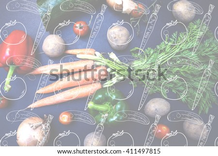 Double exposure with vegetables drawings pattern. Fresh spring vegetables: young carrots, young potatoes, yellow onions, cherry tomatoes, peppers and cucumbers on the black background. Top view - stock photo