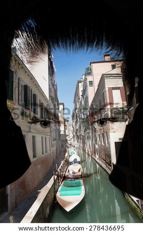 Double Exposure woman against a Venetian canal - stock photo
