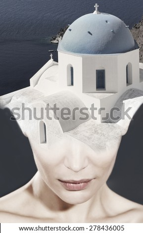 Double Exposure woman and the Greek Orthodox Church - stock photo