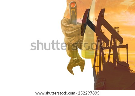 double exposure Wrench, Basic tool for fixing in crude oil site - stock photo
