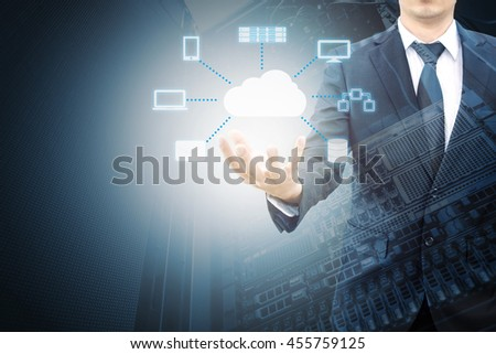 Double expsoure of professional businessman connecting cloud technology on hand in technologyand business concept