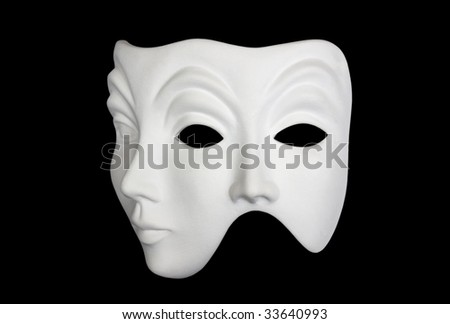 Double face white mask isolated over black background 3/4 view - stock photo