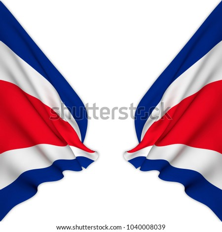 Double flag of Costa Rica elegantly waving on a white background.3D Rendering