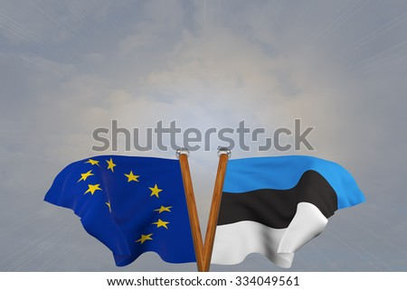 Double flags European Union and Estonia, joined on v-shaped wooden pole - stock photo