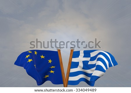 Double flags European Union and Greece , joined on v-shaped wooden pole