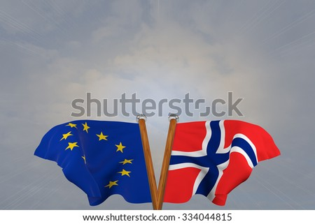 Double flags European Union and Norway , joined on v-shaped wooden pole