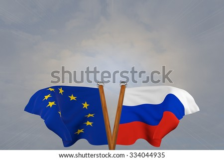 Double flags European Union and Russia , joined on v-shaped wooden pole