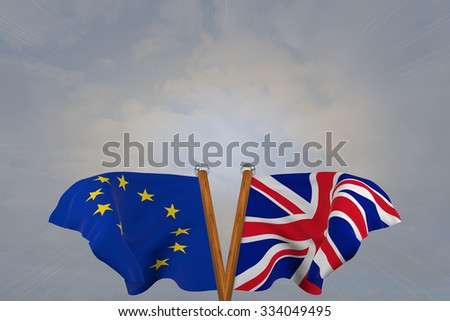 Double flags European Union and  United Kingdom , joined on v-shaped wooden pole
