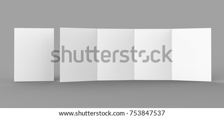 Double Gate Fold Brochure Blank White Template For Mock Up And Presentation  Design. 3d Illustration