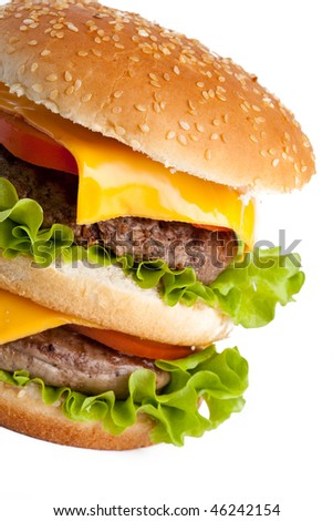 Double hamburger macro isolated on white - stock photo