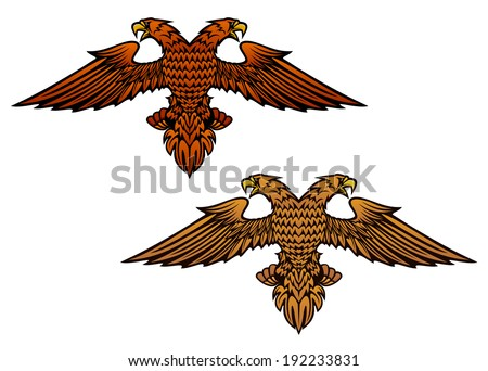 Double headed eagle for heraldry or mascot logo design. Vector version also available in gallery - stock photo