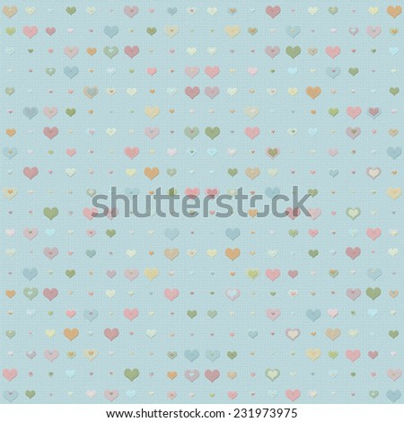 Double heart background with faded pattern of multicolored hearts - stock photo