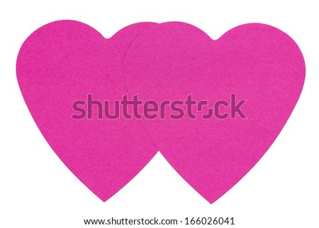 Double Heart Sticky Label, isolated on white background - stock photo