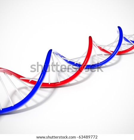 double helix dna string lying on a white background - stock photo