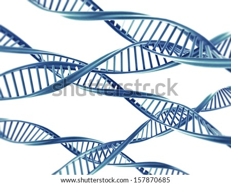 Double helix dna strings isolated on white background  - stock photo